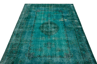 Turquoise  Over Dyed Vintage Rug 5'0'' x 8'3'' ft 153 x 251 cm