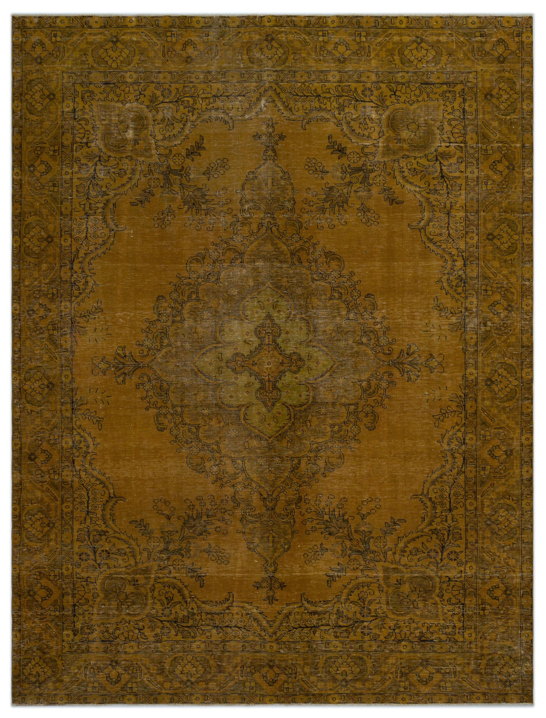 Yellow Over Dyed Vintage XLarge Rug 9'8'' x 12'6'' ft 294 x 382 cm