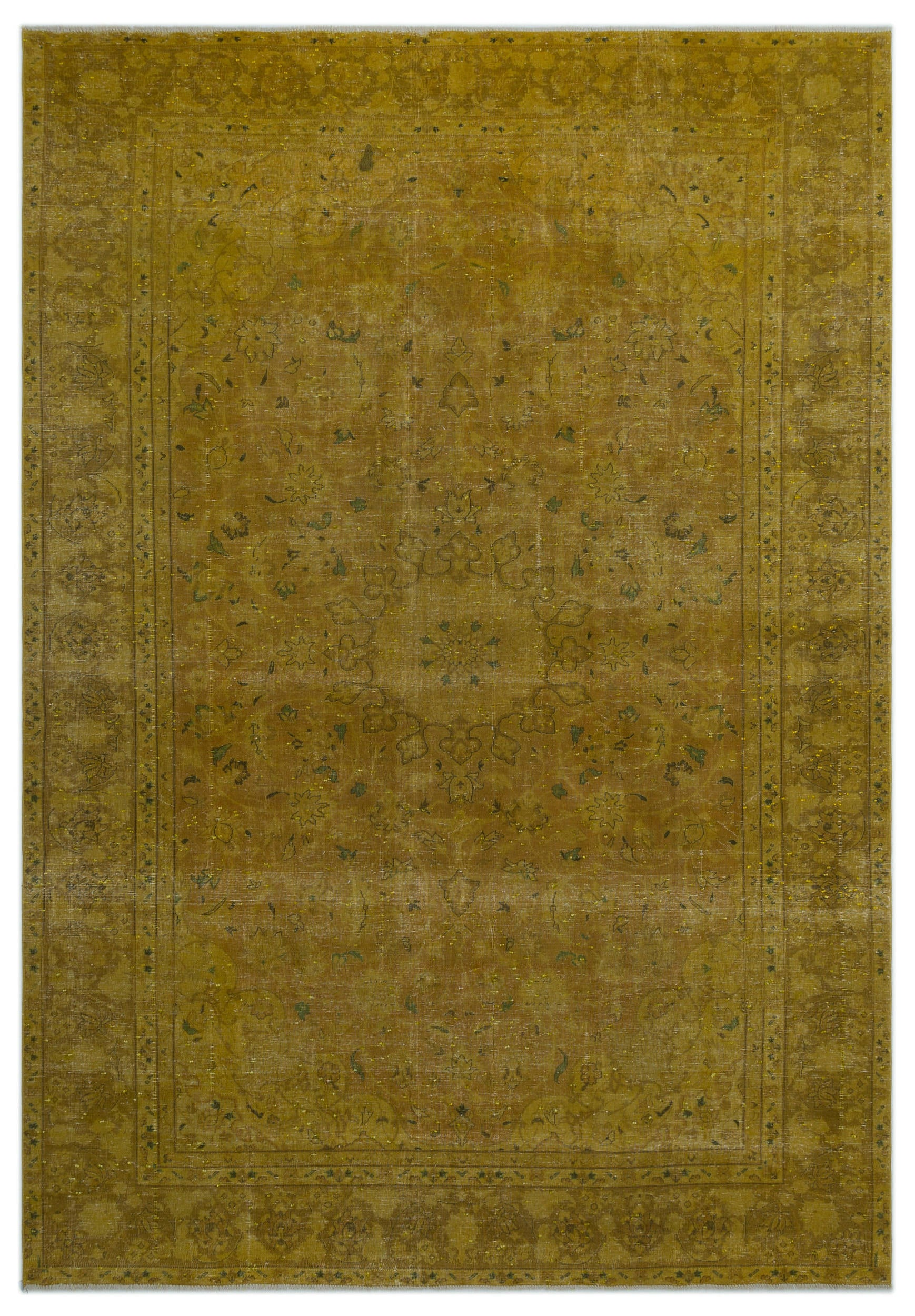 Yellow Over Dyed Vintage XLarge Rug 8'10'' x 12'8'' ft 268 x 385 cm