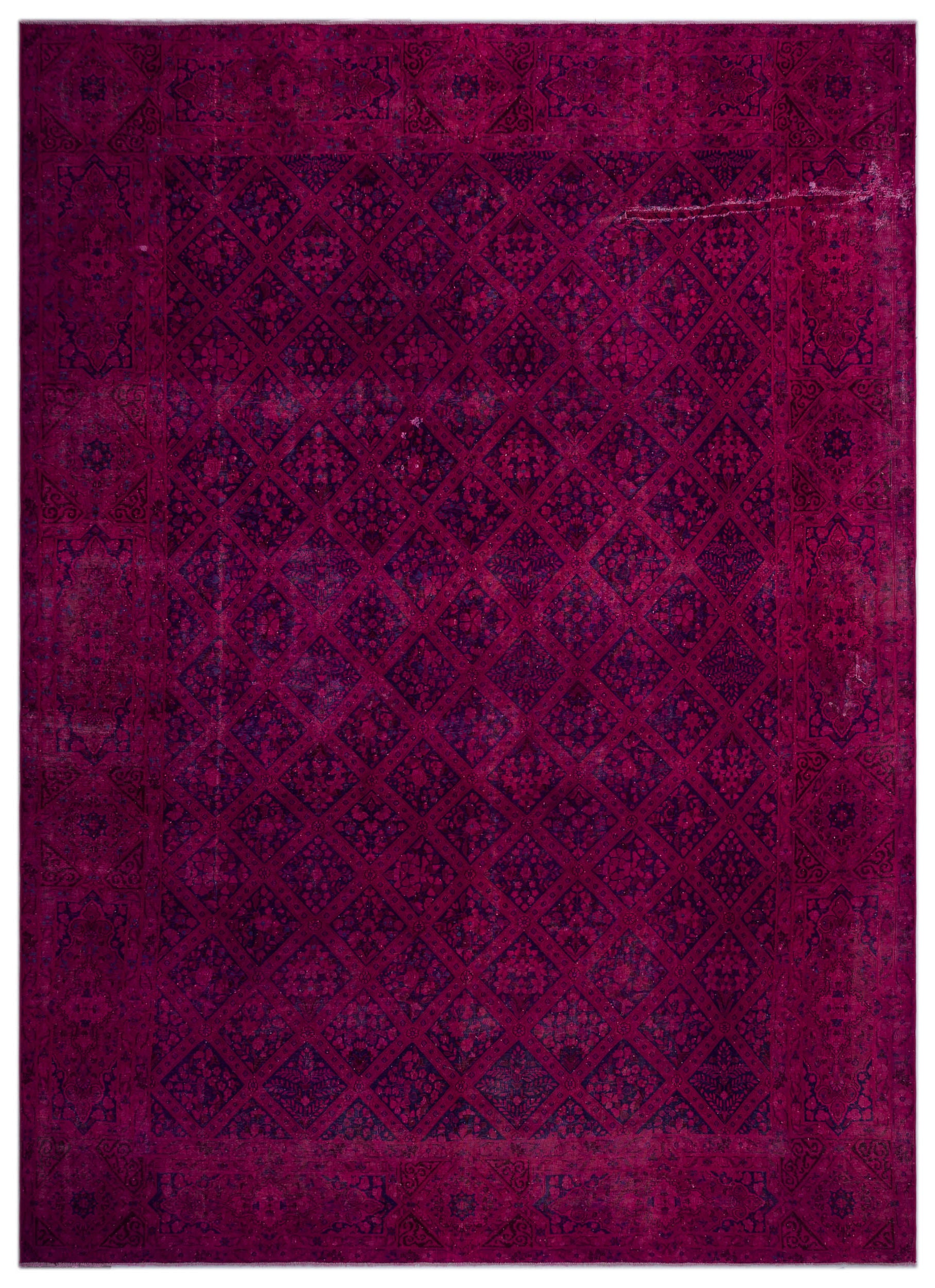 Fuchsia Over Dyed Vintage XLarge Rug 11'1'' x 15'5'' ft 337 x 470 cm
