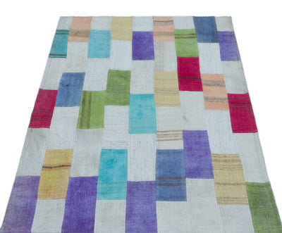 Mixed Over Dyed Kilim Patchwork Unique Rug 2'12'' x 4'7'' ft 91 x 140 cm