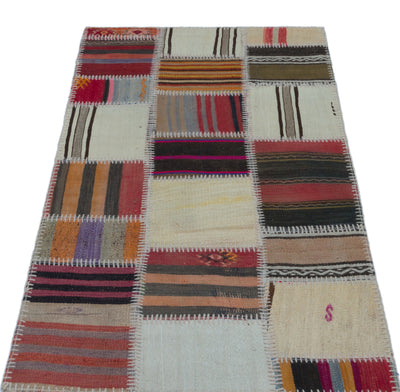 Naturel Over Dyed Kilim Patchwork Unique Rug 2'7'' x 4'11'' ft 80 x 150 cm