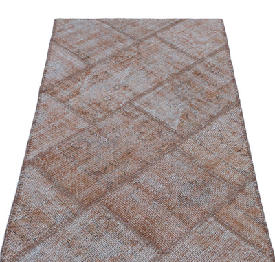 Brown Over Dyed Patchwork Unique Rug 2'7'' x 4'11'' ft 80 x 150 cm