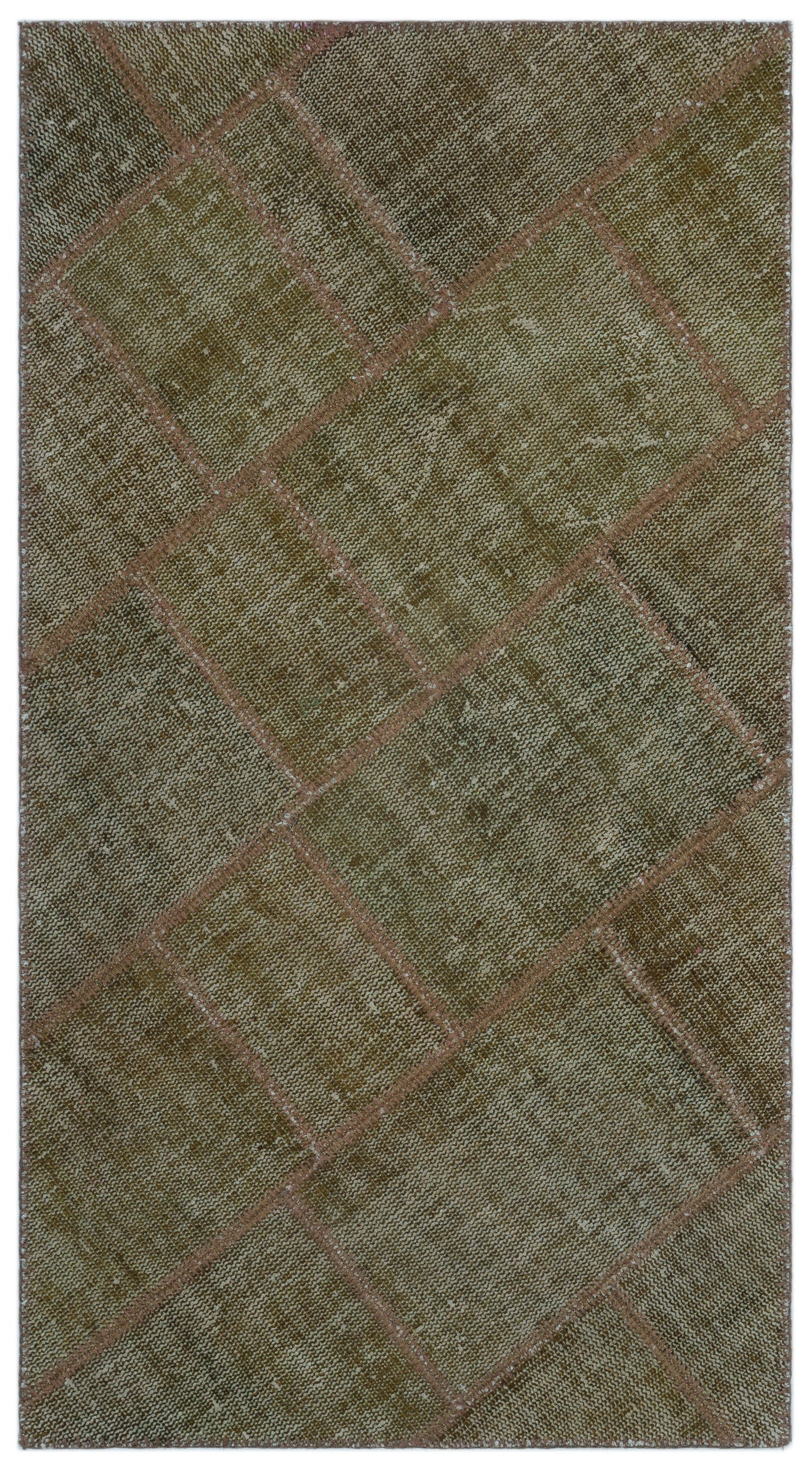 Gray Over Dyed Patchwork Unique Rug 2'7'' x 4'11'' ft 80 x 150 cm