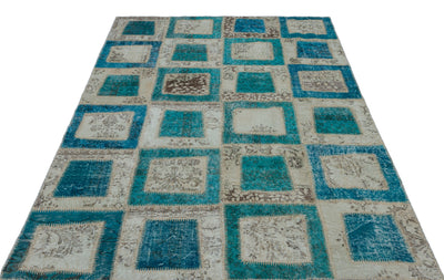 Turquoise  Over Dyed Patchwork Unique Rug 5'3'' x 7'10'' ft 160 x 238 cm