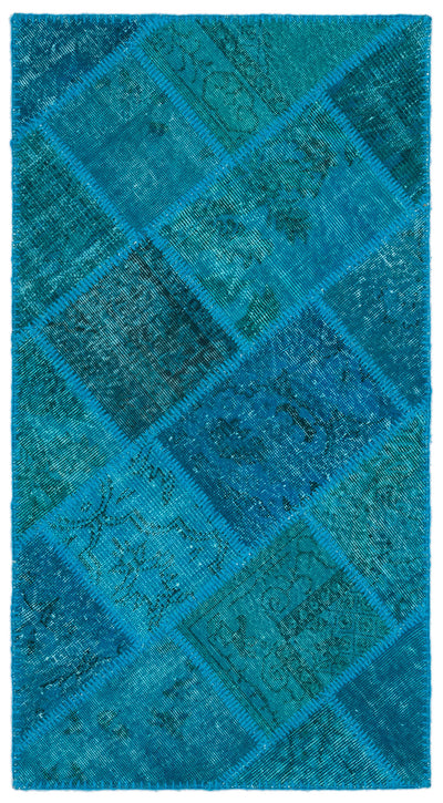 Turquoise  Over Dyed Patchwork Unique Rug 2'7'' x 4'11'' ft 80 x 150 cm