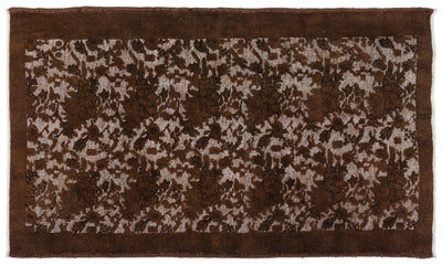 Brown Over Dyed Carved Rug 3'10'' x 6'7'' ft 116 x 200 cm