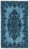 Turquoise  Over Dyed Carved Rug 3'11'' x 6'9'' ft 120 x 205 cm