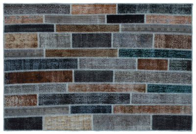 Gray Over Dyed Patchwork Unique Rug 5'2'' x 7'8'' ft 158 x 233 cm