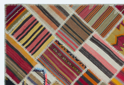 Naturel Over Dyed Kilim Patchwork Unique Rug 5'2'' x 7'8'' ft 158 x 233 cm