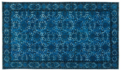 Turquoise  Over Dyed Carved Rug 5'7'' x 9'7'' ft 171 x 292 cm