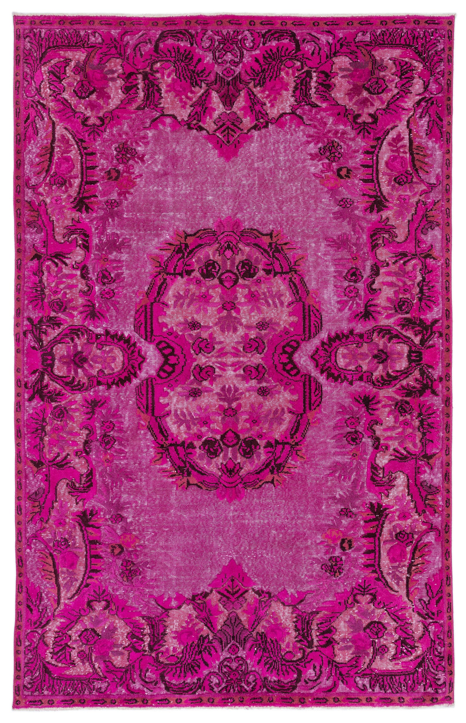 Pink Over Dyed Carved Rug 6'1'' x 9'6'' ft 185 x 289 cm