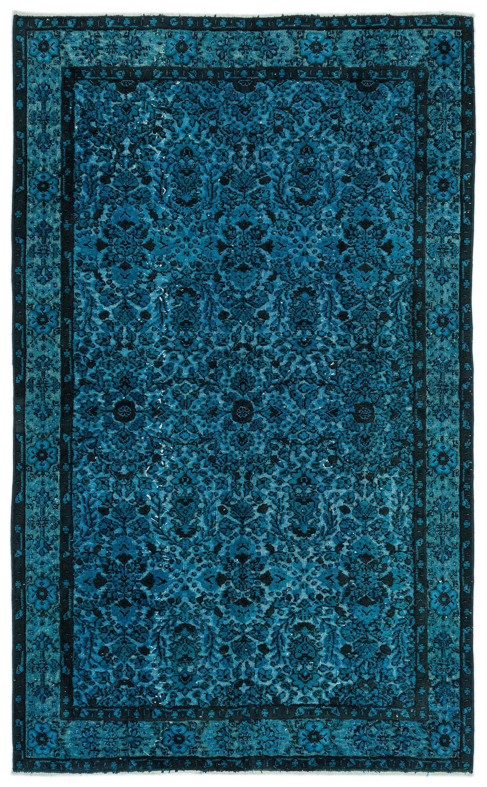 Turquoise  Over Dyed Carved Rug 5'7'' x 9'3'' ft 170 x 281 cm