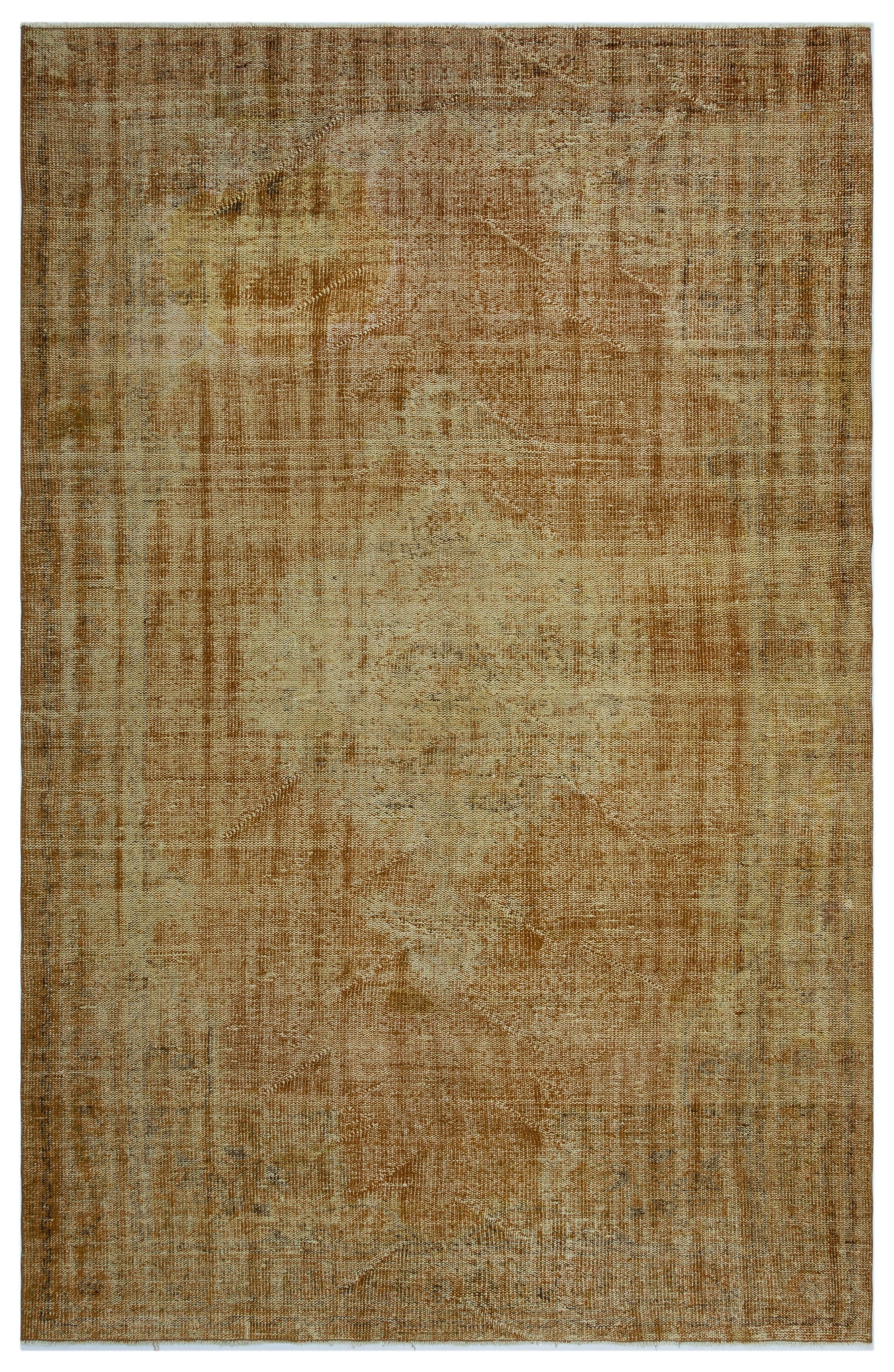 Brown Over Dyed Vintage Rug 6'2'' x 9'6'' ft 188 x 290 cm