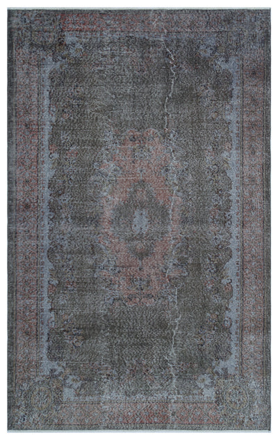 Gray Over Dyed Vintage Rug 5'7'' x 8'10'' ft 170 x 270 cm