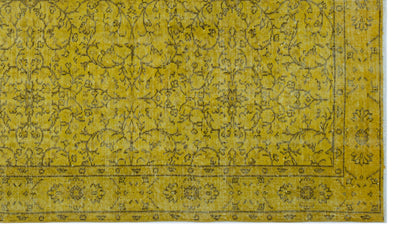 Yellow Over Dyed Vintage Rug 5'2'' x 9'0'' ft 158 x 275 cm