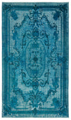 Turquoise  Over Dyed Carved Rug 4'12'' x 8'8'' ft 152 x 263 cm