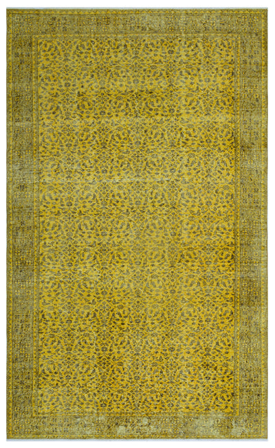 Yellow Over Dyed Vintage Rug 5'3'' x 8'9'' ft 160 x 266 cm