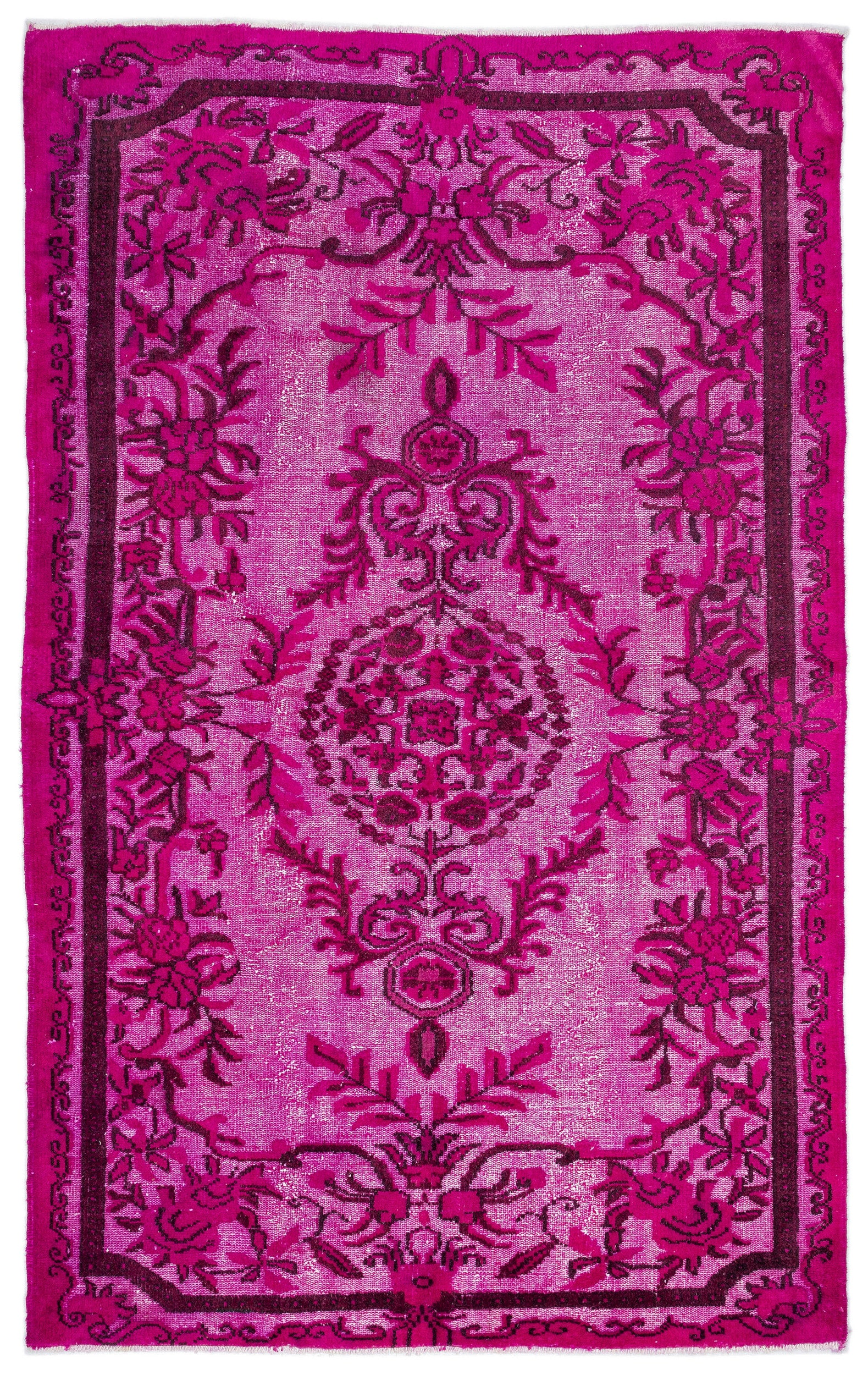 Pink Over Dyed Carved Rug 5'9'' x 8'12'' ft 175 x 274 cm