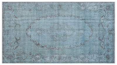 Blue Over Dyed Vintage Rug 4'11'' x 8'12'' ft 150 x 274 cm