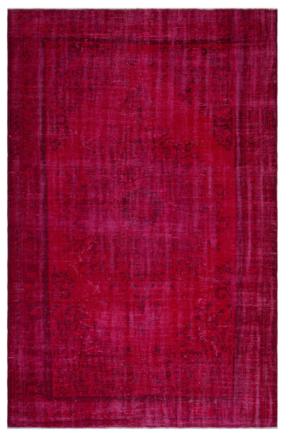 Red Over Dyed Vintage Rug 5'10'' x 8'7'' ft 177 x 261 cm