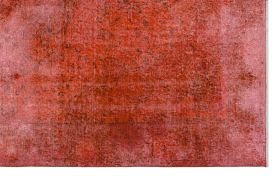 Orange Over Dyed Vintage Rug 5'5'' x 8'9'' ft 165 x 266 cm