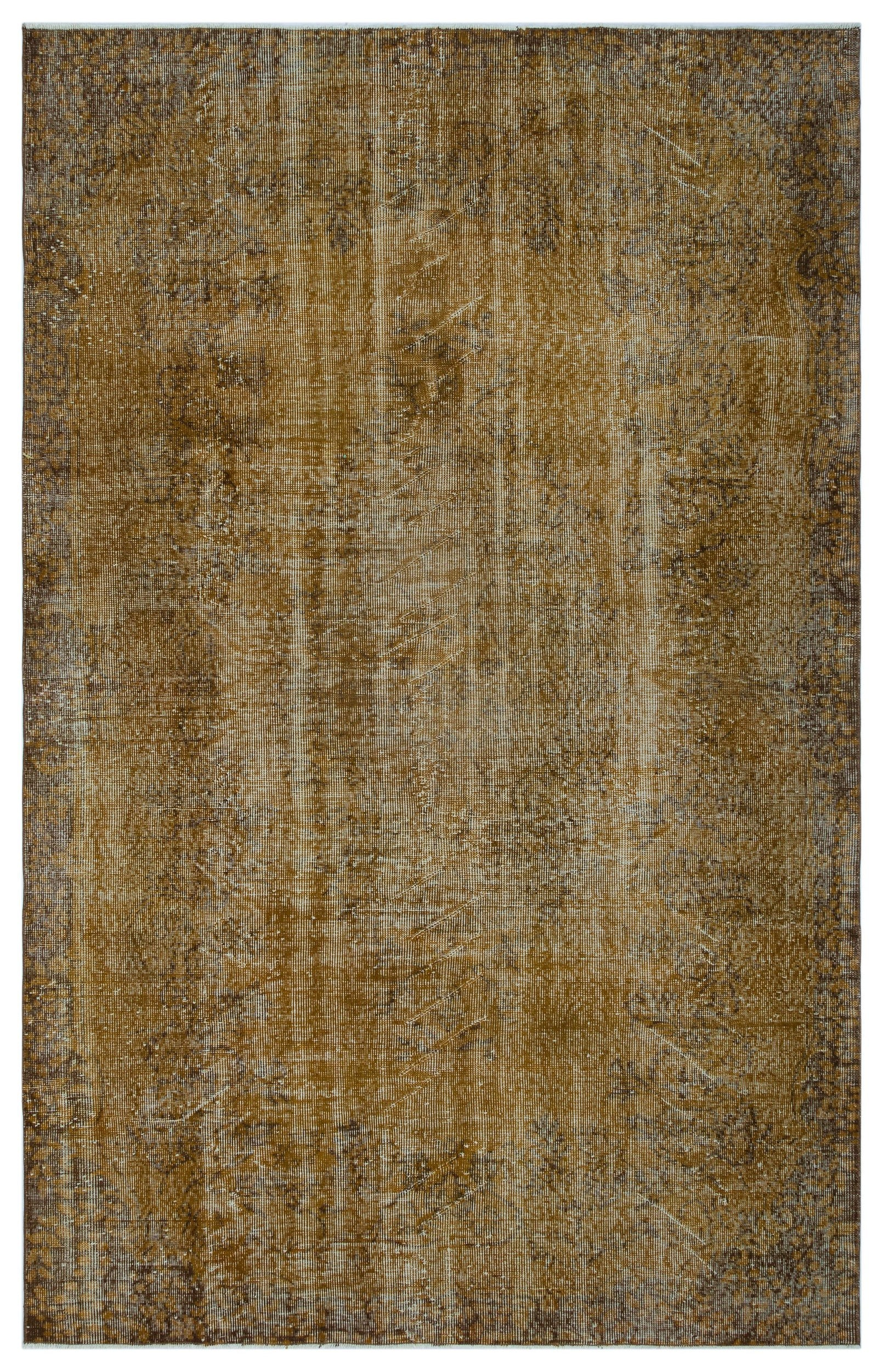Brown Over Dyed Vintage Rug 5'11'' x 9'5'' ft 181 x 288 cm