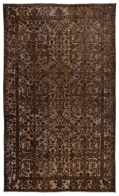 Brown Over Dyed Carved Rug 5'8'' x 9'2'' ft 173 x 279 cm