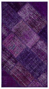 Purple Over Dyed Patchwork Unique Rug 2'7'' x 4'11'' ft 80 x 150 cm