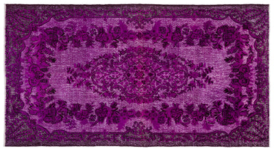 Fuchsia Over Dyed Carved Rug 5'8'' x 10'3'' ft 172 x 313 cm