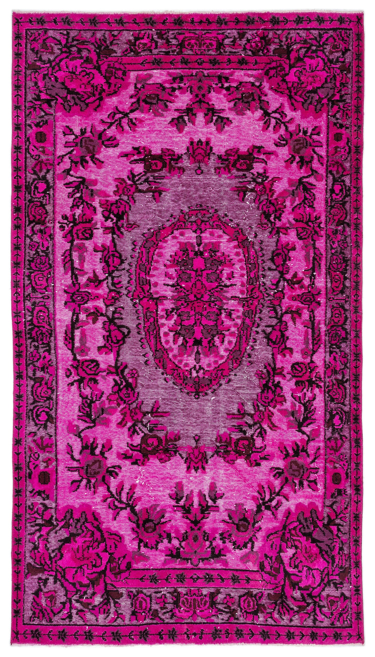 Pink Over Dyed Carved Rug 5'0'' x 8'11'' ft 153 x 273 cm