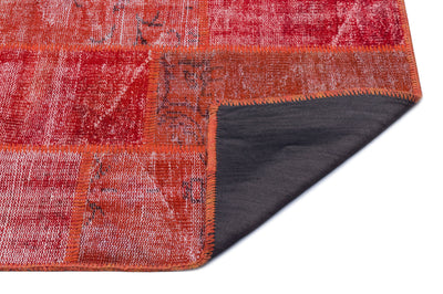 Red Over Dyed Patchwork Unique Rug 2'7'' x 4'11'' ft 80 x 150 cm