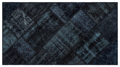 Black Over Dyed Patchwork Unique Rug 2'7'' x 4'11'' ft 80 x 150 cm