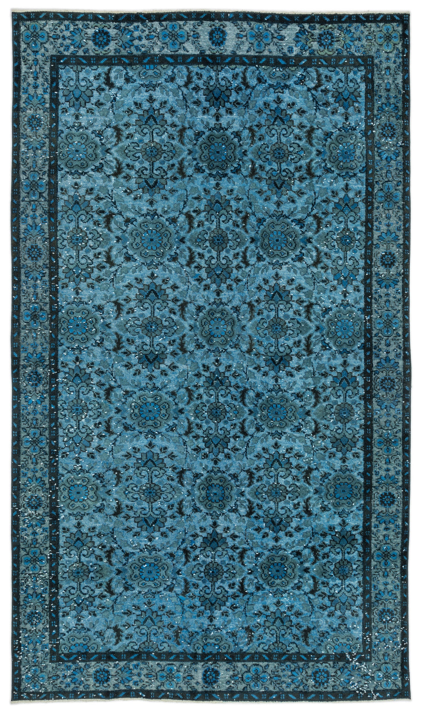 Turquoise  Over Dyed Carved Rug 5'6'' x 9'7'' ft 168 x 292 cm