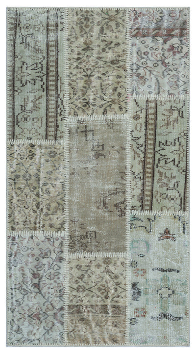 Beige Over Dyed Patchwork Unique Rug 2'7'' x 4'11'' ft 80 x 150 cm