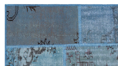 Blue Over Dyed Patchwork Unique Rug 2'7'' x 4'11'' ft 80 x 150 cm