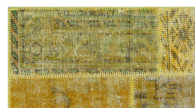 Yellow Over Dyed Patchwork Unique Rug 2'7'' x 4'11'' ft 80 x 150 cm