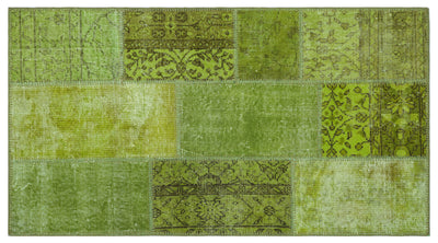 Green Over Dyed Patchwork Unique Rug 2'7'' x 4'11'' ft 80 x 150 cm