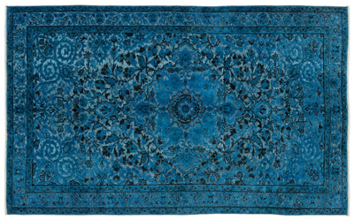 Turquoise  Over Dyed Carved Rug 5'4'' x 8'8'' ft 162 x 264 cm
