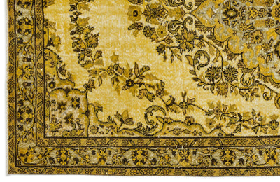 Yellow Over Dyed Carved Rug 5'7'' x 9'7'' ft 170 x 293 cm