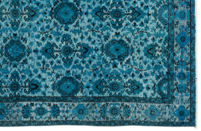 Turquoise  Over Dyed Carved Rug 5'3'' x 8'6'' ft 160 x 259 cm