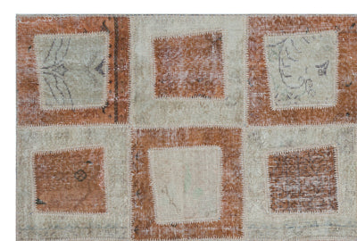 Brown Over Dyed Patchwork Unique Rug 5'3'' x 7'10'' ft 160 x 240 cm