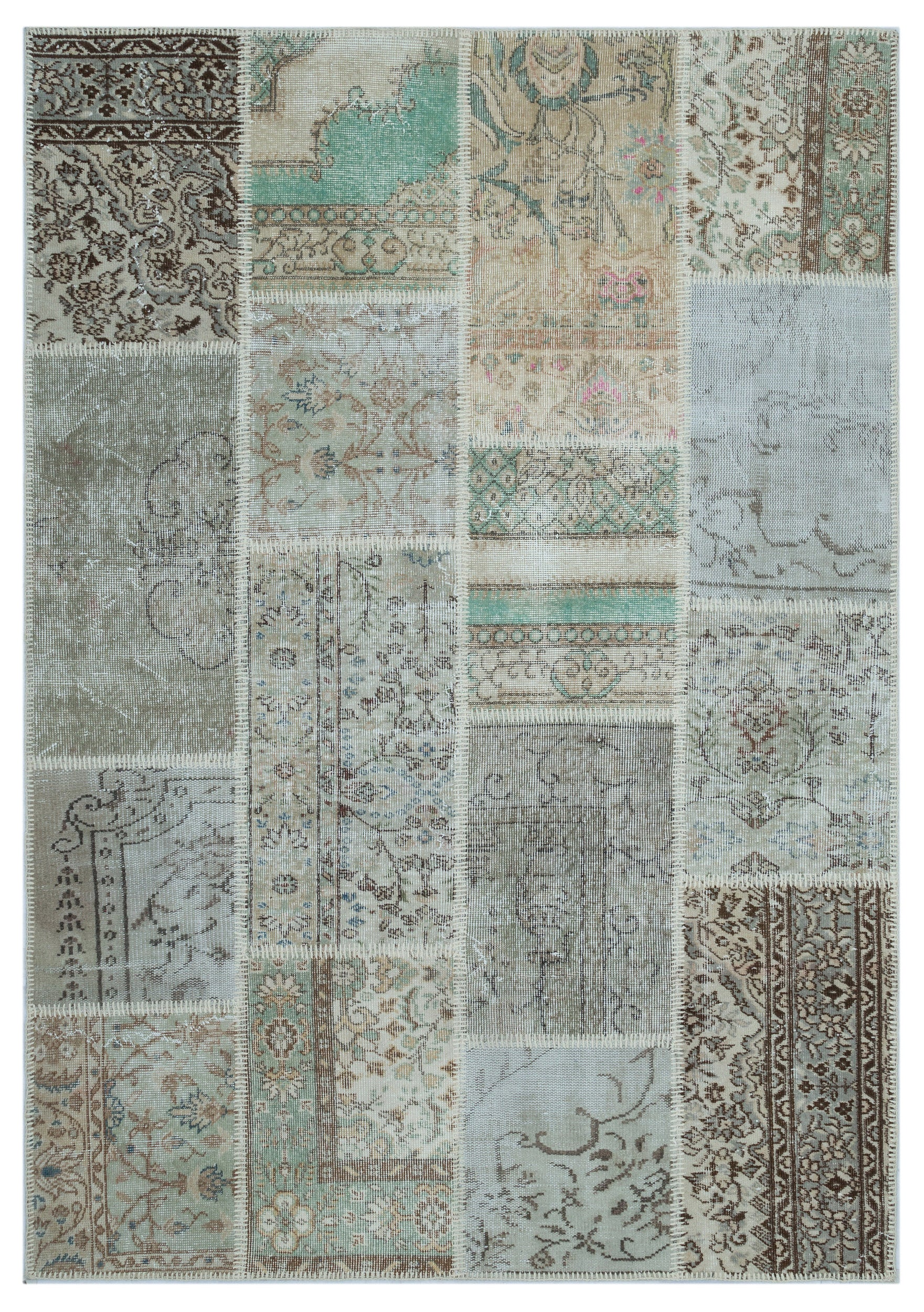 Beige Over Dyed Patchwork Unique Rug 5'3'' x 7'7'' ft 160 x 232 cm