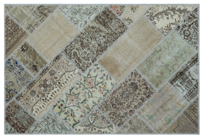 Beige Over Dyed Patchwork Unique Rug 3'11'' x 5'11'' ft 120 x 180 cm
