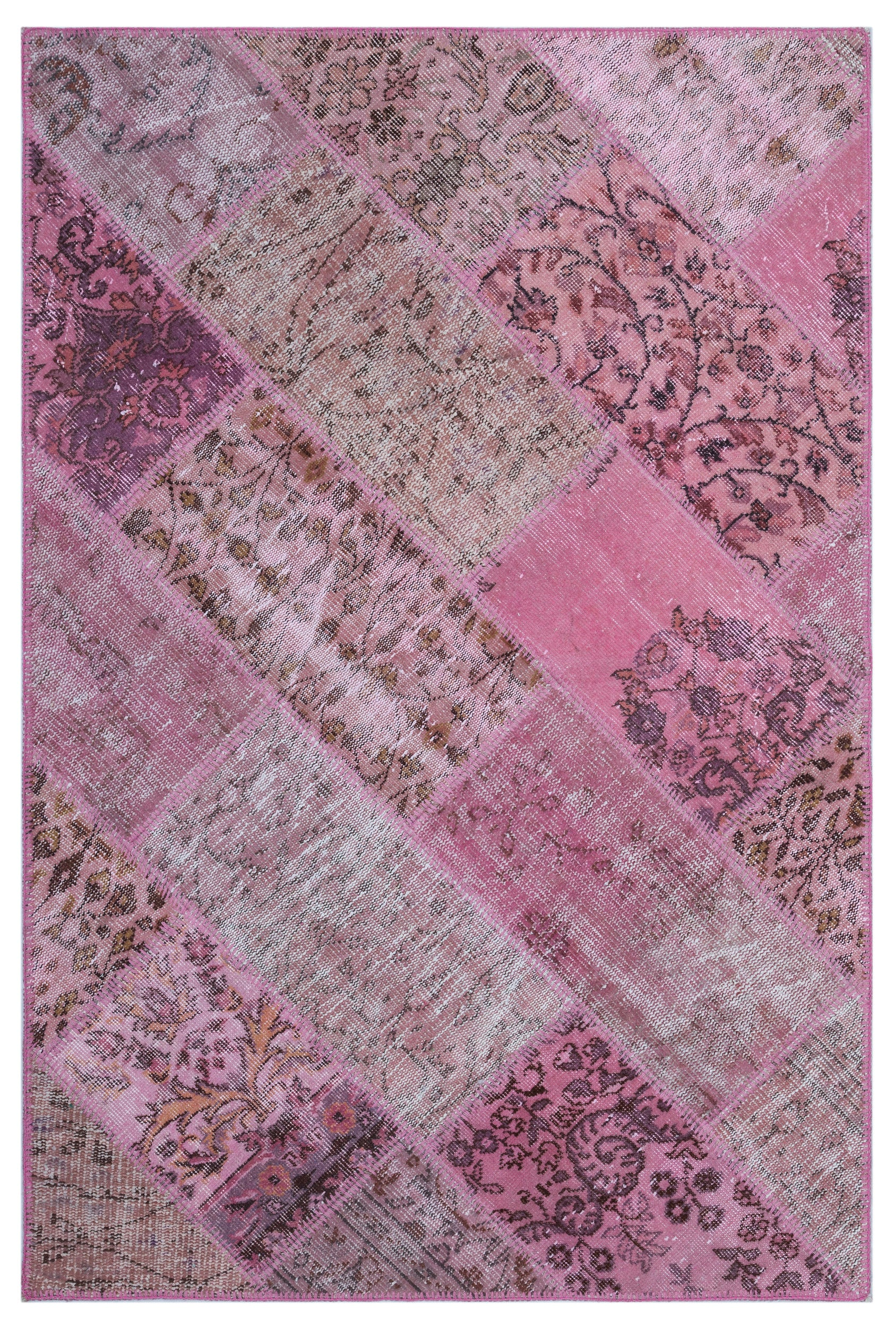 Pink Over Dyed Patchwork Unique Rug 3'11'' x 5'11'' ft 120 x 180 cm