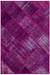 Fuchsia Over Dyed Patchwork Unique Rug 3'11'' x 5'11'' ft 120 x 180 cm