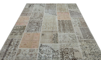 Beige Over Dyed Patchwork Unique Rug 6'4'' x 9'3'' ft 194 x 281 cm