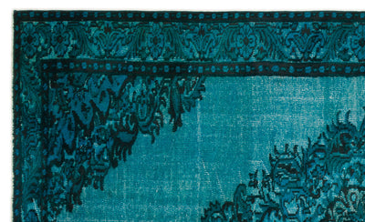 Turquoise  Over Dyed Carved Rug 5'10'' x 9'5'' ft 177 x 288 cm