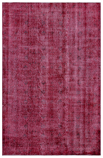Fuchsia Over Dyed Vintage Rug 5'3'' x 8'3'' ft 161 x 252 cm