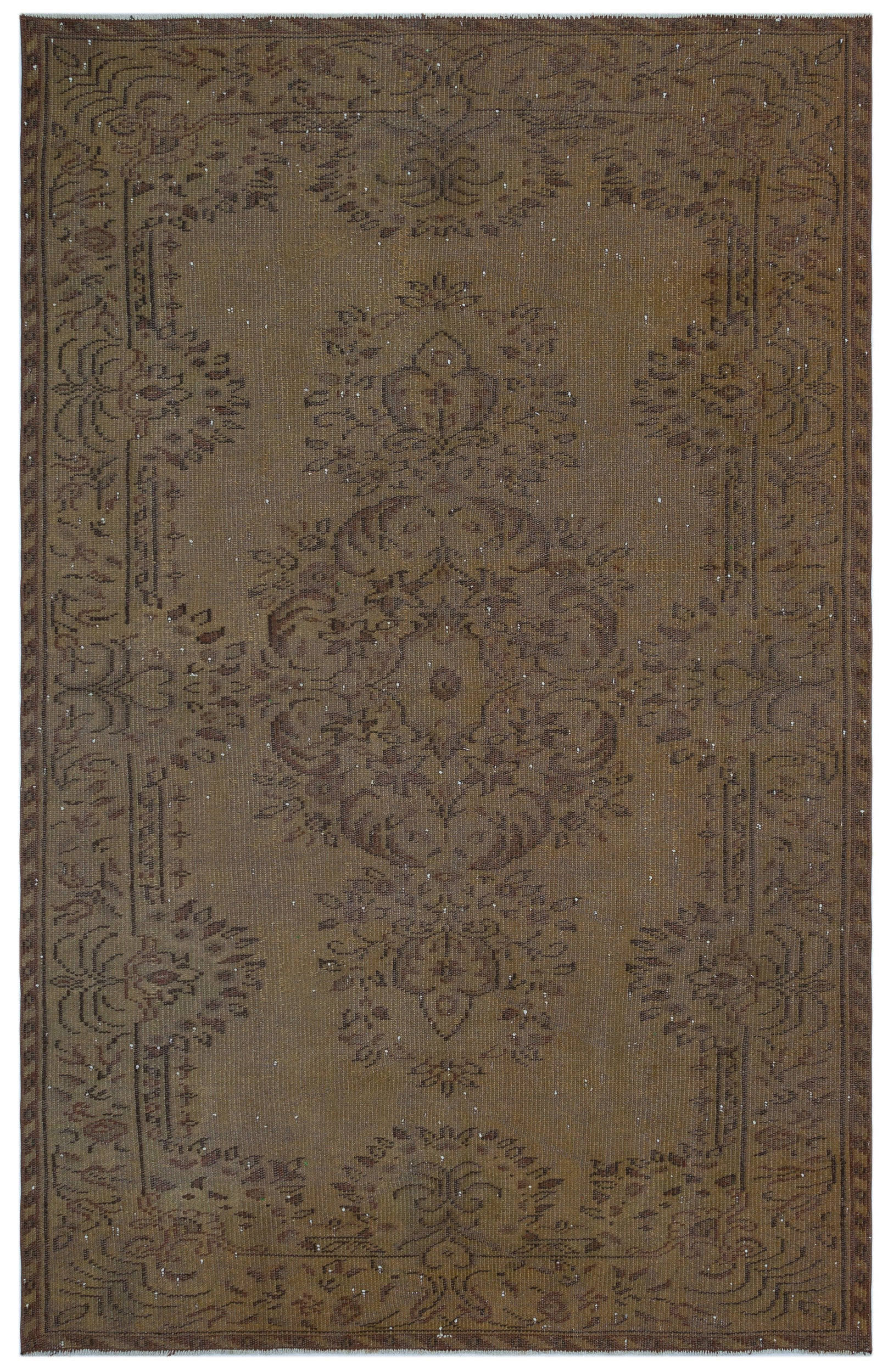 Brown Over Dyed Vintage Rug 5'6'' x 8'6'' ft 168 x 258 cm